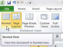 how to get out of header and footer view in excel 2010