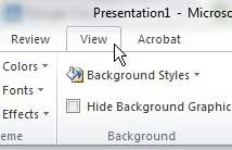 the powerpoint 2010 view menu