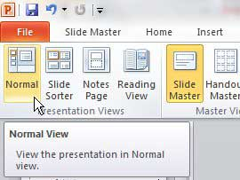 how to exit slide master view in powerpoint 2010