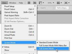 switch to full screen mode in photoshop cs5