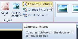click the compress pictures button