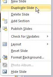 how to duplicate a slide in powerpoint 2010