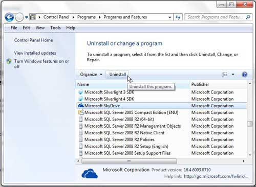 how to uninstall skydrive