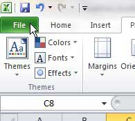 excel 2010 file tab at top-left corner