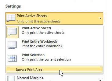 how to ignore the print area in excel 2010
