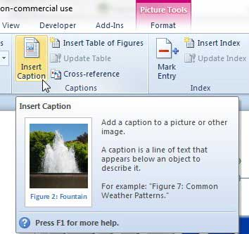 how to insert an image caption in word 2010