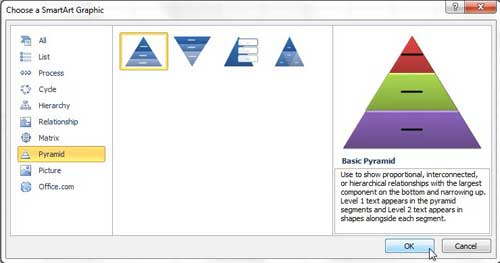 how to insert a smartart pyramid in excel 2010