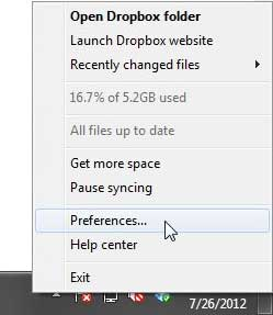 open dropbox preferences menu