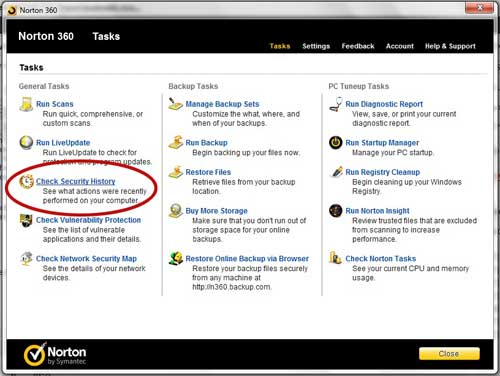 norton 360 security history