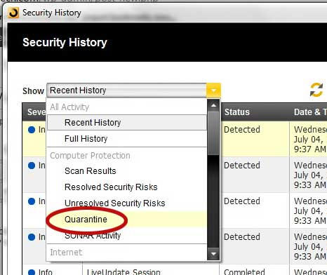 how to view quarantined files in norton 360