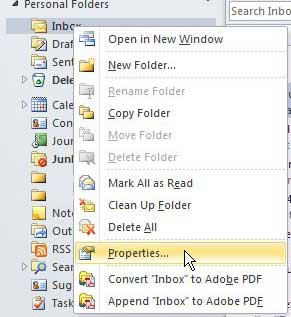 outlook 2010 folder properties
