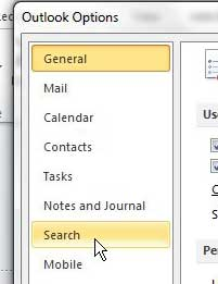 outlook 2010 search menu