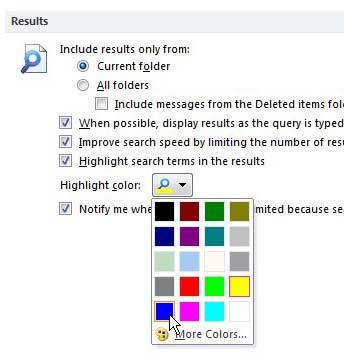 change the color of highlighted search terms in outlook 2010
