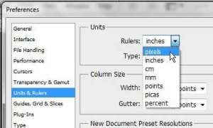 change ruler from inches to pixels photoshop cs5
