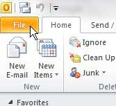 the outlook 2010 file tab