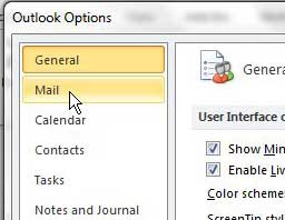 open the outlook 2010 mail menu