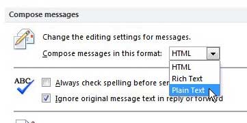 how to compose all messages in outlook 2010 in plain text