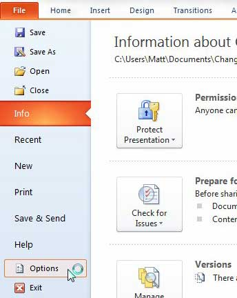 powerpoint 2010 options menu