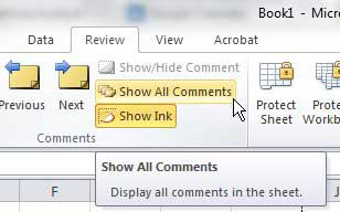 show comments in excel 2010