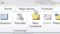page layout tab excel 2010
