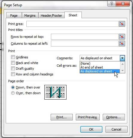 how to print comments in excel 2010