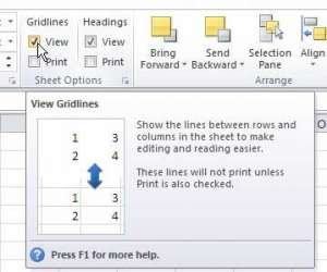how to remove gridlines from view in excel 2010