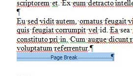 selecting the page break object