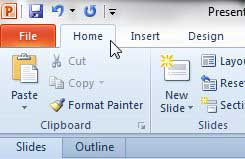 click the powerpoint 2010 home tab