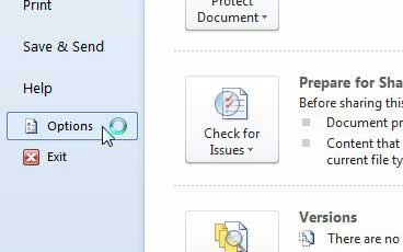 word 2010 options menu