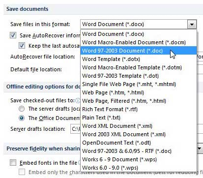 save as doc by desault in word 2010