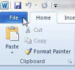 click the word 2010 file tab