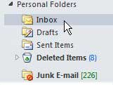 select the outlook folder