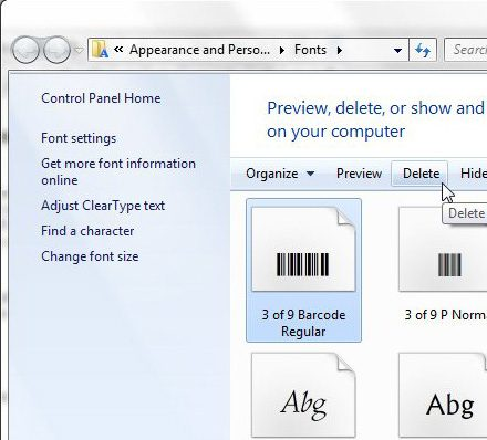 how to delete a font from windows 7