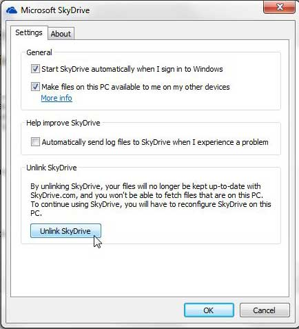 how to unlink a skydrive local folder