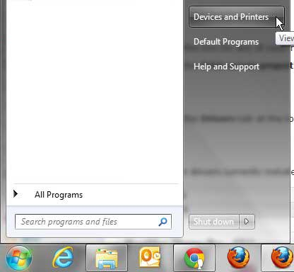 open windows 7 devices and printers menu