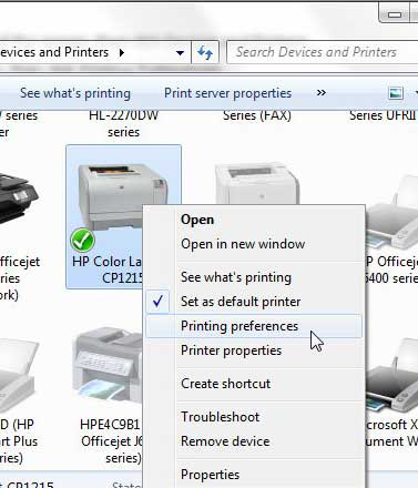 cp1215 printing preferences