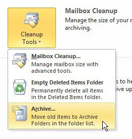 how to archive old emails in outlook 2010
