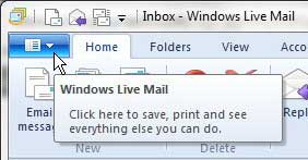 windows live mail tab