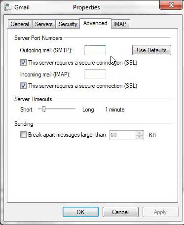 how to change a port setting in windows live mail