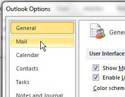 mail tab in outlook options