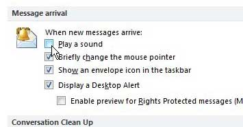 disable new message sound in outlook 2010