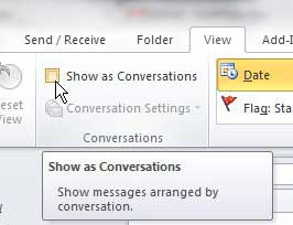 how to group messages by conversation in outlook 2010