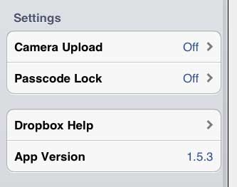 ipad dropbox camera upload menu