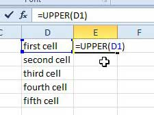 how to make all text uppercase in excel 2010