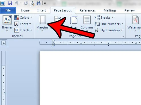 change the page margins in a word document