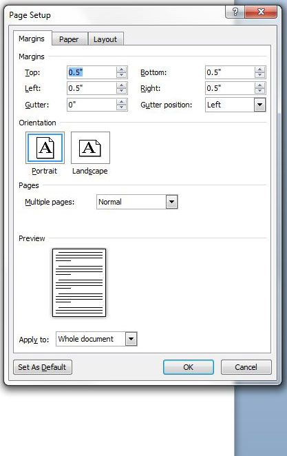 how to adjust page margins in word 2010