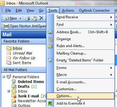 outlook 2003 tools, options menu