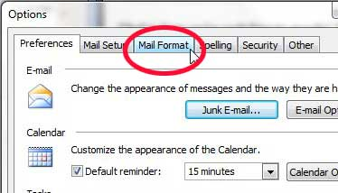 outlook 2003 mail format tab