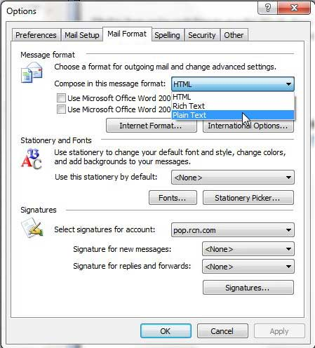 compose messages in plain text in outlook 2003