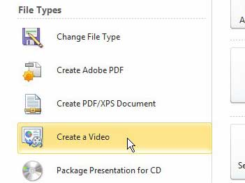 powerpoint 2010 create a video